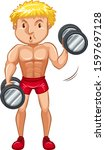 athlete doing weightlifting on... | Shutterstock .eps vector #1597697128