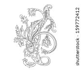 monochrome hand drawn paisley... | Shutterstock .eps vector #159772412
