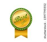 best offer award ribbon icon.... | Shutterstock . vector #1597795552