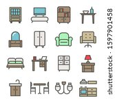 home furniture icons set with... | Shutterstock .eps vector #1597901458