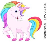 cute cartoon unicorn with... | Shutterstock . vector #1597913518