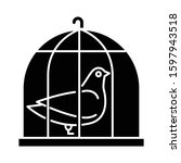 Pigeon in cage glyph icon. Captive bird. Harbinger of peace. Nightingale in captivity. Bible narrative. Christian symbol of purity. Silhouette symbol. Negative space. Vector isolated illustration