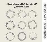 hand drawn floral line clip art ... | Shutterstock .eps vector #1597955332