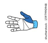 robotic hand color line icon....