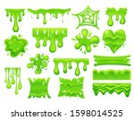 set of isolated green slime... | Shutterstock .eps vector #1598014525