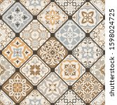 seamless colorful patchwork.... | Shutterstock .eps vector #1598024725