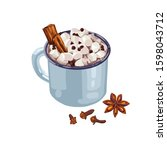 hand drawn blue cup of cocoa... | Shutterstock .eps vector #1598043712