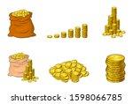 Coins Isolated Cartoon Set ...