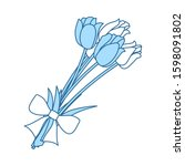 tulips bouquet icon with tied...