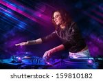 beautiful young dj playing on... | Shutterstock . vector #159810182