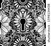 vector black and white keyhole... | Shutterstock .eps vector #1598134438