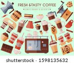 coffee beans and equipment... | Shutterstock .eps vector #1598135632