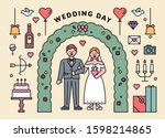 wedding couple characters and... | Shutterstock .eps vector #1598214865
