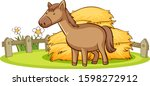 isolated picture of horse on... | Shutterstock .eps vector #1598272912