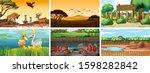 six scenes with wild animals...   Shutterstock .eps vector #1598282842