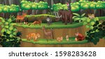 scene with many animals in... | Shutterstock .eps vector #1598283628