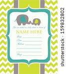 baby shower invitation elephants | Shutterstock .eps vector #159832802