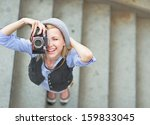 Happy Hipster Girl Making Photo ...