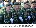 Small photo of MOSCOW, RUSSIA - MAY 7, 2019:Cadets of the military space Academy named after Mozhaisk at the dress rehearsal of the parade on red square in honor of Victory Day