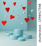 valentines hearts with blue... | Shutterstock . vector #1598417548