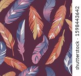 feather pattern colorful...   Shutterstock . vector #1598443642