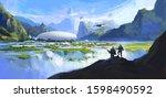 secret base in secret... | Shutterstock . vector #1598490592