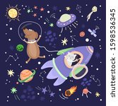 animals travel in space  a cat... | Shutterstock .eps vector #1598536345