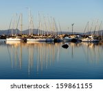 yacht pier in early morning... | Shutterstock . vector #159861155