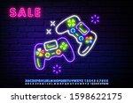 neon gamer play win logo neon... | Shutterstock .eps vector #1598622175