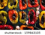 roasted pepper with garlic and... | Shutterstock . vector #159863105