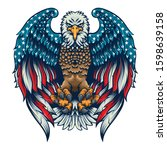 eagle flag american proud fly | Shutterstock .eps vector #1598639158