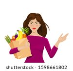 girl on a white background with ...   Shutterstock .eps vector #1598661802