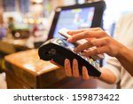 woman paying with nfc...   Shutterstock . vector #159873422