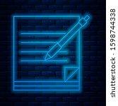 glowing neon line blank... | Shutterstock . vector #1598744338