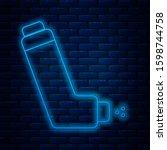 glowing neon line inhaler icon... | Shutterstock . vector #1598744758