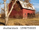Old Red Barn On Side Of Country ...