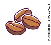 coffee color line icon. a seed...
