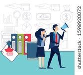 elegant business couple workers ...   Shutterstock .eps vector #1598920072