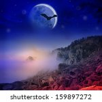 fantastic night foggy mountains ... | Shutterstock . vector #159897272