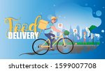 food delivery banner. a cyclist ... | Shutterstock .eps vector #1599007708