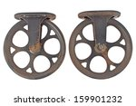 Two Old Rusty Pulley Isolated...