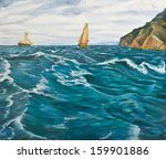 Oil Painting. Sailboats In The...