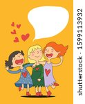 drawn cartoon three girl... | Shutterstock .eps vector #1599113932