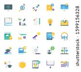 pack of science flat icons  | Shutterstock .eps vector #1599156328