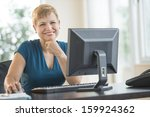 businesswoman using computer at ... | Shutterstock . vector #159924362