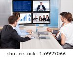 businesspeople sitting in a... | Shutterstock . vector #159929066