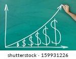 hand holding chalk dollar... | Shutterstock . vector #159931226