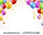 gold balloons and confetti... | Shutterstock .eps vector #1599314188