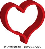 3 d red heart   outline drawing ... | Shutterstock .eps vector #1599327292