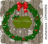 christmas card with wreath....   Shutterstock .eps vector #159939896